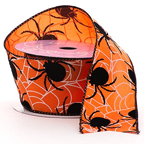 Spiders & Webs Halloween Wired Ribbon - 2 1/2