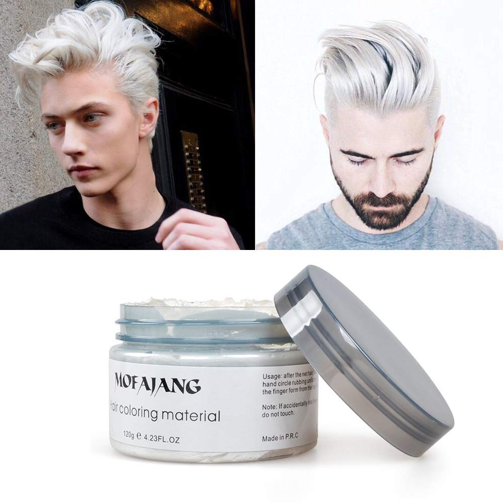 Amazon Com White Hair Color Wax Pomades 4 23 Oz Natural Hair Coloring Wax Material Disposable Hair Styling Clays Ash For Cosplay Party White Beauty