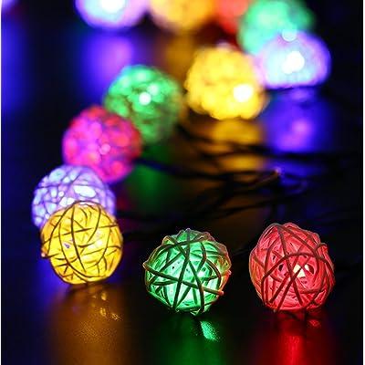 20 LED à énergie solaire en rotin Lampe globe boule Fée Guirlande ...