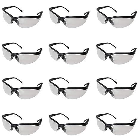 Pack 12 Gafas de Seguridad Negras Lentes Transparentes Protectoras por Kurtzy - Gran Set de Gafas