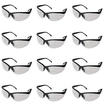 d56846919e Gafas de Seguridad Negras , Gafas Proteccion - Trozo 12 Gafas Protectoras  Ojos con Lentes Plástico Transparente y ...