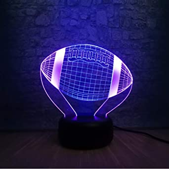 Deportes calientes Balón de fútbol americano Lámpara 3D Color ...