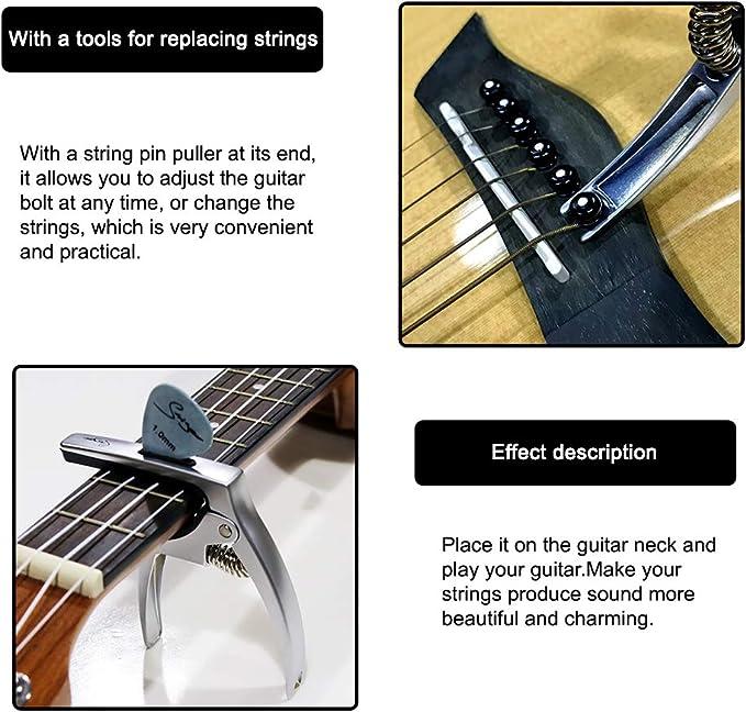 Mandolin with Free 3 PCS Guitar Picks Banjo Suidreams Guitar Capo for Acoustic and Electric Guitars Black Ukulele Capo