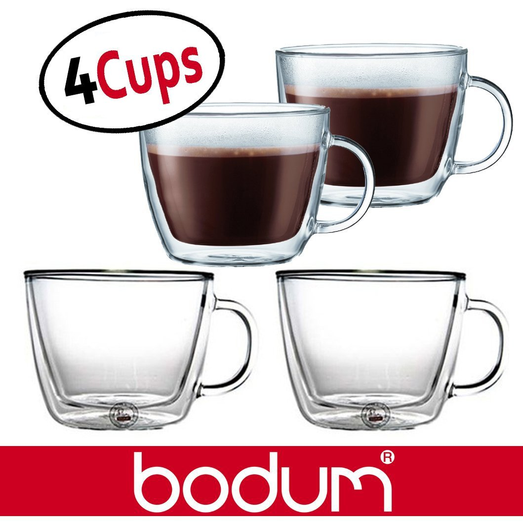 Bodum Bistro 15.2-Ounce Double Wall Glass, Espresso Coffee Cups Mugs - Clear (Set of 4 Glasses)