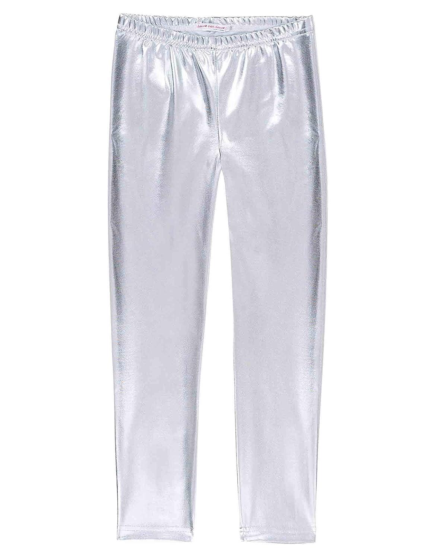 Deux par Deux Girls' Shiny Leggings in Silver Black and White, Sizes 6-12