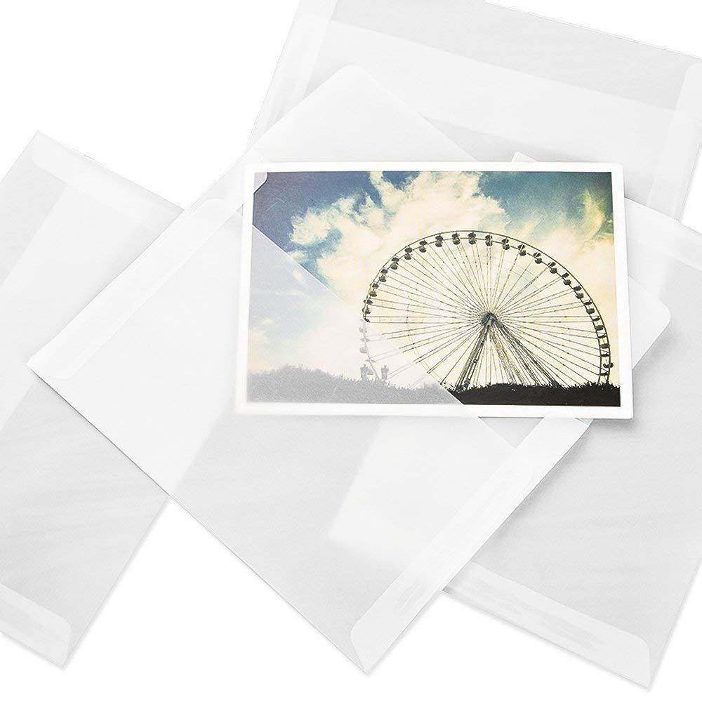 Lvcky 50Pcs Clear Letter Envelopes Case Holder Envelope Gift Set Blessing Greeting Card for Wedding Birthday( )
