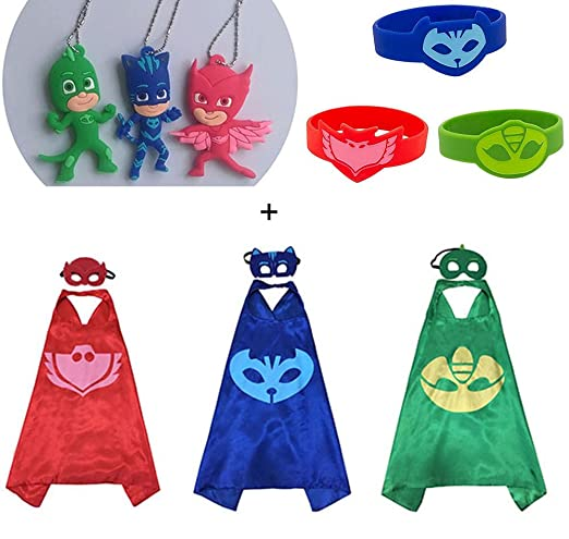 Amazon.com: 3 Sets PJ Masks Heros Capes Masks & Figure Necklace & Bracelet Wristbands Kids Cosplay Party Halloween: Toys & Games