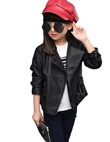 e955ba3bece8 Amazon.com  YJ.GWL Girls Fashion Diagonal Zipper Jacket Pu Leather ...