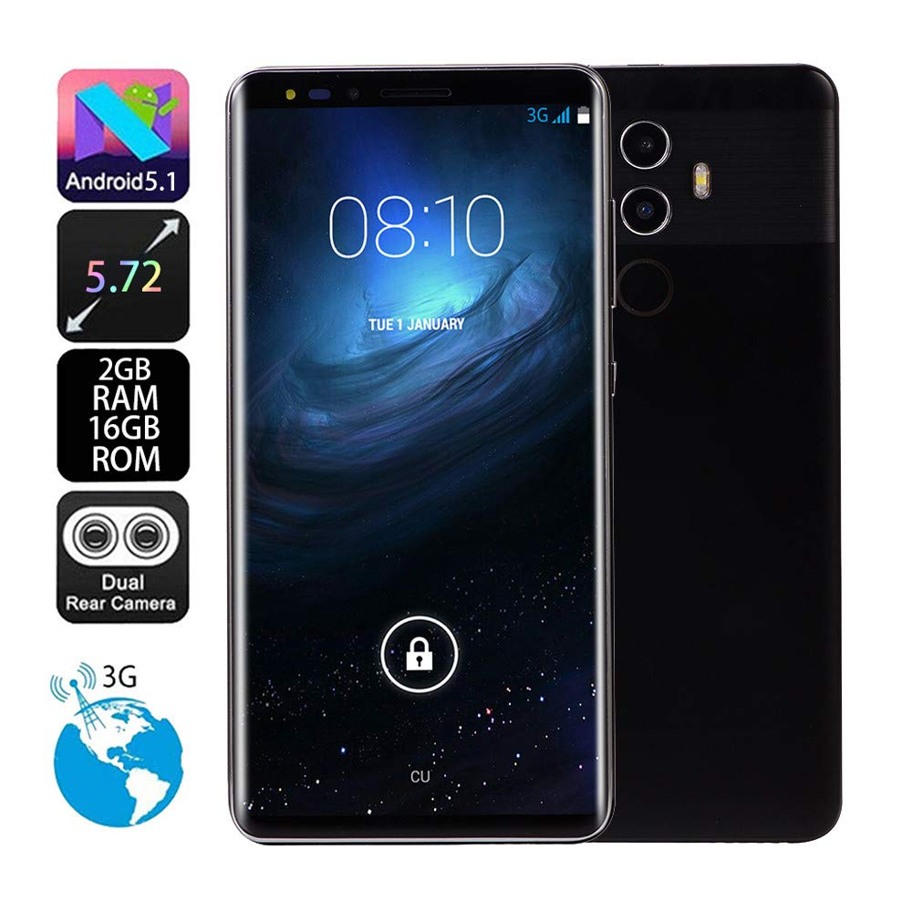 Unlocked Android Smartphone - 5.72'' Full Touch Screen - Dual HD Camera Dual SIM Cell Phones GSM/WCDMA 512M+16G GPS 3G Call Mobile Phone (Mate10, Black) by Aritone (Image #4)
