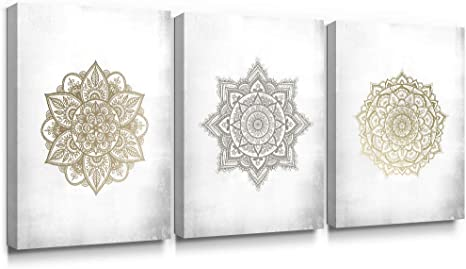 Amazon Com Sumgar Boho Wall Art Bathroom Gold Mandala Framed Paintings 3 Piece Grey Flowers Pictures Gray Floral Canvas Prints Bedroom Indian Artwork Yoga Spa Bohemian Home Decorations Geometric Decor 12x16 In Posters
