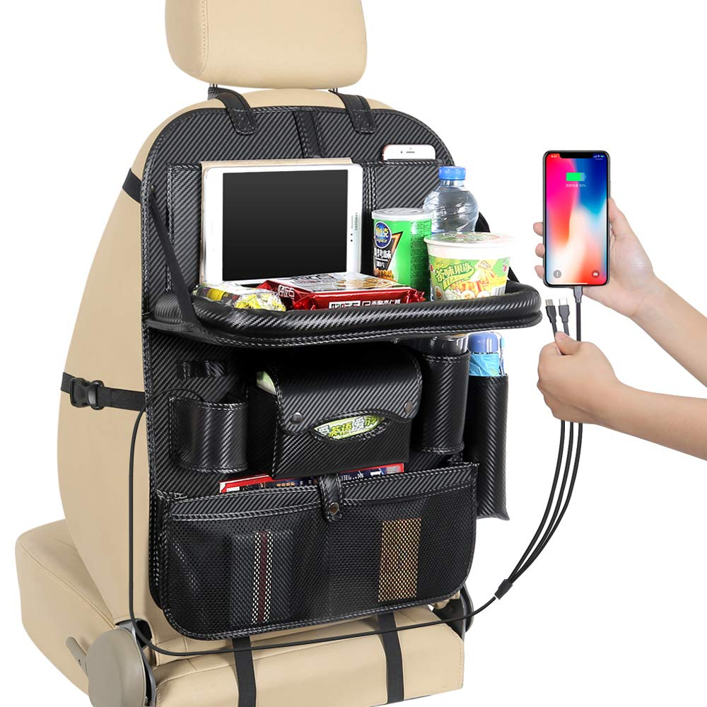 JIAKANUO Auto Car Seat Back Organizer Pocket,Car Pocket Organiser with Tablet Ipad Holder Mobile Tray 3USB Cables for Cellphones Kids Baby Travel PU Leather (PG12,3 Cables,with Tray,Carbon) by JIAKANUO (Image #1)
