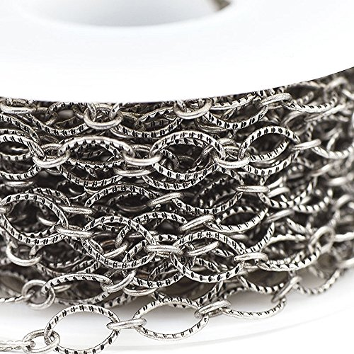Large Oval Cable (Chainologie Antique Silver-Plated Chain _#32: 6x9mm Textured Flat Oval Cable Chain (per 25-foot Spool))
