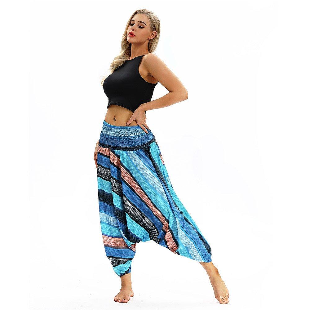 LANSKIRT Mujer Pantalones Hippies Pantalón Largo de Yoga ...