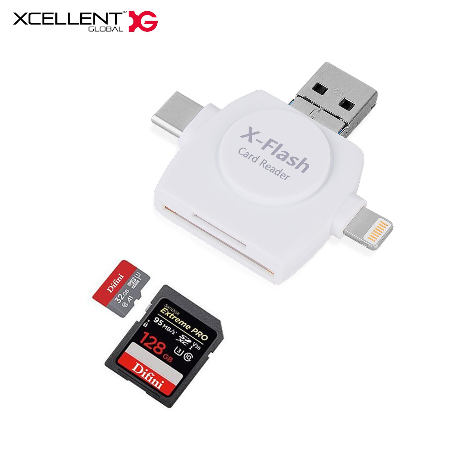 Xcellent Global Type C USB Connector Micro SD & TF Card Reader Memory Card Reader Adapter 4-in-1 Flash Drive for iPhone iPad Mac S8 S8+ Note 8 PC046