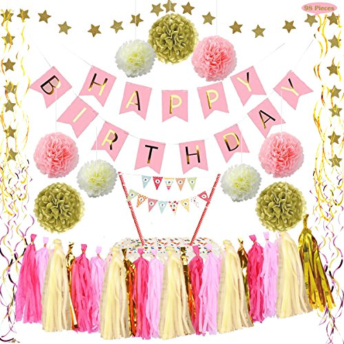 Pink and Gold Decoration Supplies Kit - Happy Birthday Banner Rainbow Cake Topper PomPom Tissue Flower Tassel Hanging Foil Swirl Star Garland for 1st Party Girl Decor, Decorate for Princess (13th Birthday Party Themes)