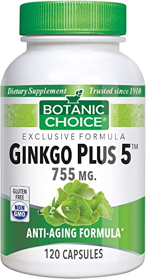 Botanic Choice Ginkgo Plus 5 - Daily Supplement for Improved Brain Function - Promotes Memory Retention Focus Mental Alertness and Promotes Blood Circulation 755 mg 120 Pcs
