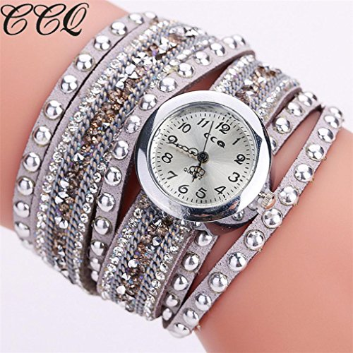 Hot Sale! AMA(TM) Women Fashion Rhinestones Bracelet Watches Casual Wrap Around Wristwatch Gifts (Gary) Style Alloy Analog
