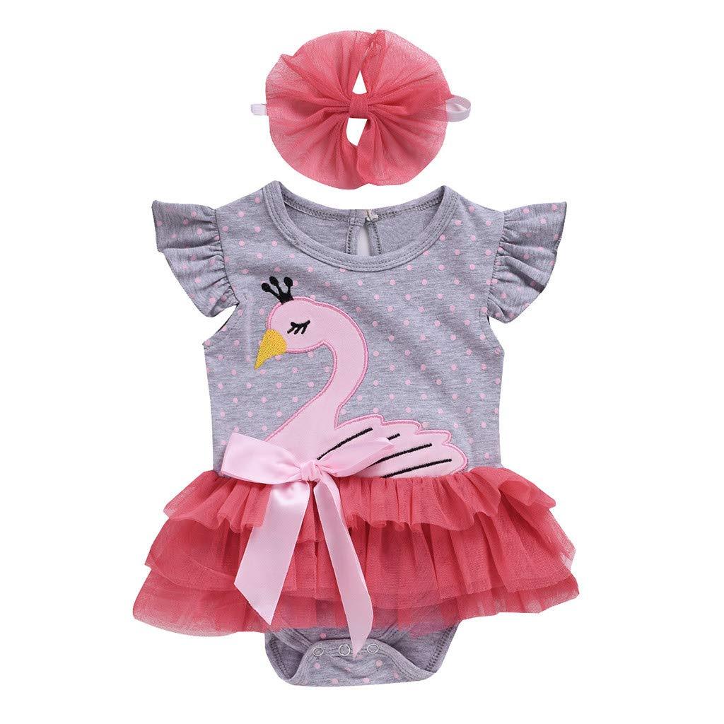 KaiCran Baby Girl Onesie Sleeveless Cartoon Swan Jumpsuit Romper Bodysuit Dress with Headbands Outfits Clothes
