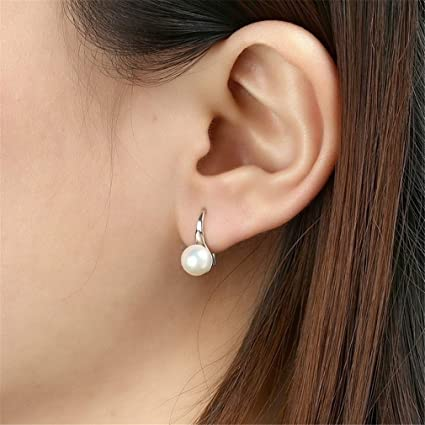 Chic Oval Freshwater Pearl Long Dangle Drop Earring Silver Accessory Girls Gift