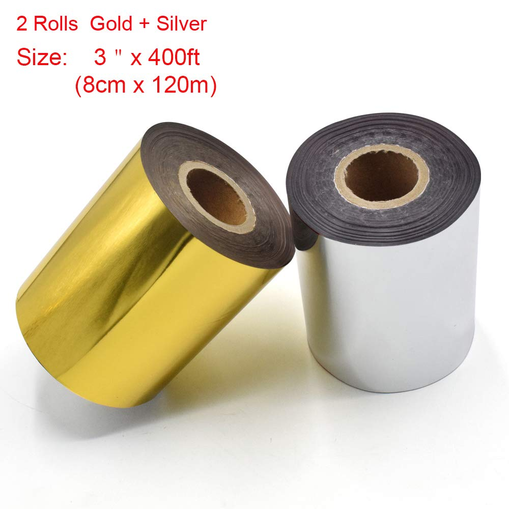 Hot Foil Stamping Paper 1 Roll Gold + 1 Roll Silver 3'' x 400ft PU Heat Transfer Anodized Gilded Paper for Hot Foil Stamping Machine (3 inch, Gold+Silver)