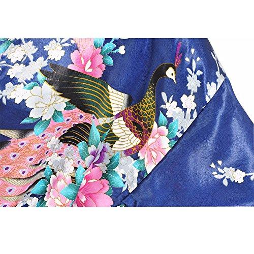 FY Mujeres Kimono Robe Bathrobe Albornoz Pavo Floral Print Camiseta Vestido Ropa de Dormir Camisón Novia Dama Vestido De Noche Lencería Spa Fiesta de Bodas Regalo Azul Oscuro