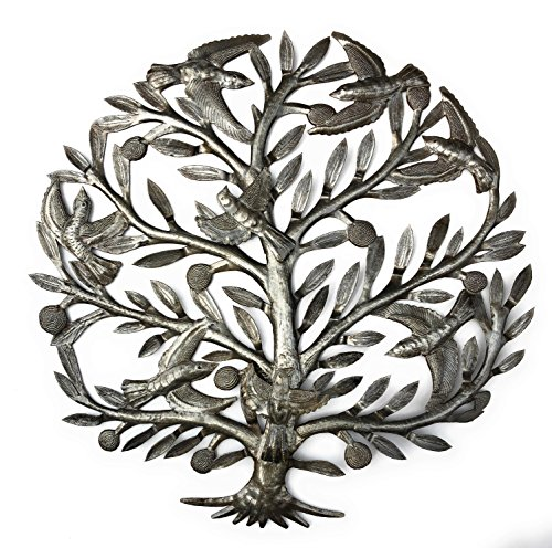 Tree of life Wall Art, Flower and Birds, Handmade in Haiti, NO MACHINED USED, Fair Trade 23""