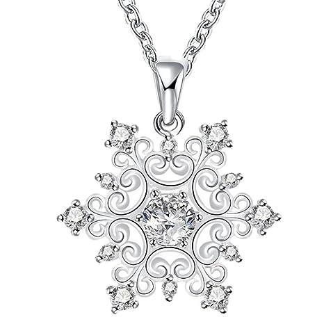 dfb4d07fc757 Leisial™ Mujer Collar Colgante Forma de Copos de Nieve Cristal Elegante  para Joyería Regalos de Cumpleaño Navidad Accesorios de Novia