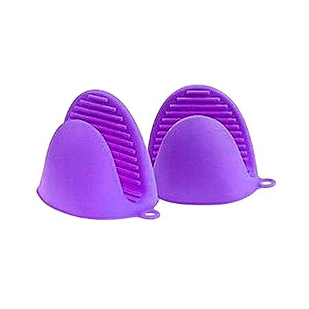 YuamMei 1 par (2 Piezas) Guantes de microondas Resistentes al Calor de Silicona Mini Manoplas de Horno (Púrpura)