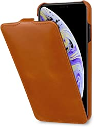 StilGut Custodia per Apple iPhone XS Maxflip Verticale in Pelle, Cognac