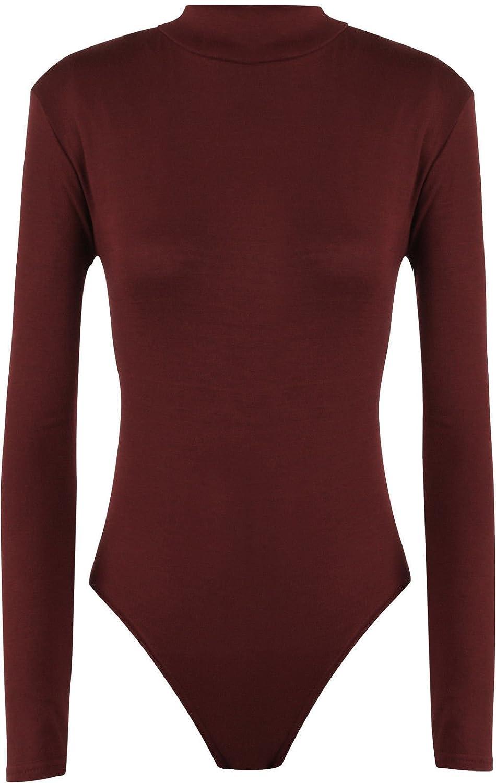 Hot Hanger Womens Long Sleeve Turtle Polo Neck Leotard Bodysuit UK Size 8-28 FB-34