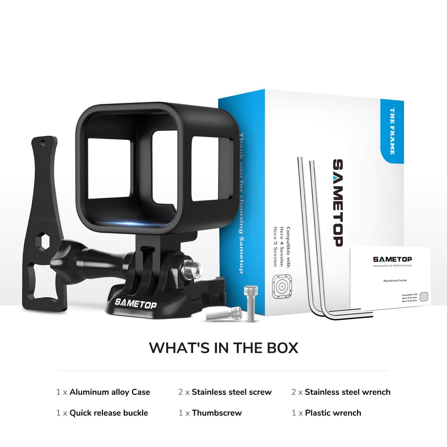 Hero Session Cameras Hero 4 Session Sametop Aluminum Alloy Frame Case Housing Compatible with GoPro Hero 5 Session