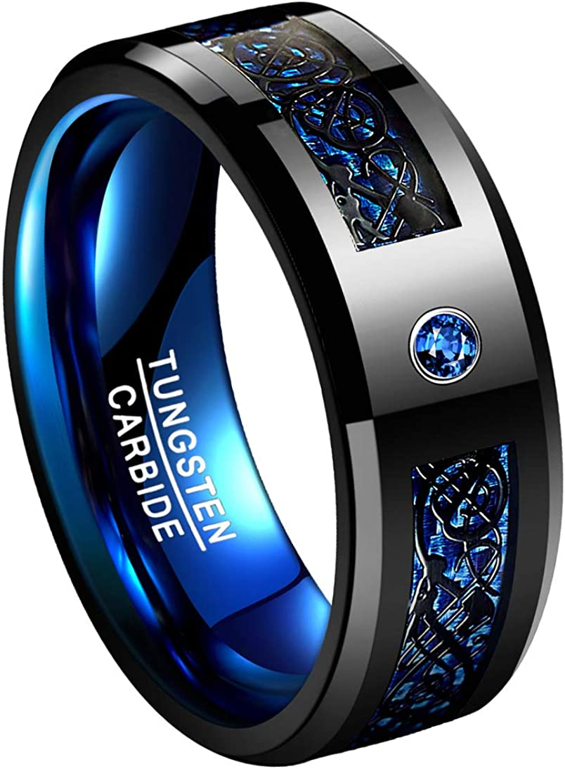 TUNGSTORY 8mm Black Celtic Dragon Tungsten Carbide Wedding Ring with Green Carbon Fiber and CZ Inlay Polished Finish Beveled Edge Size 6-15