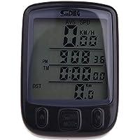 SUNDING impermeable Cuentakilometros Velocimetro Inalambrico para bicicleta Ciclismo LCD Luz de fondo retroiluminado multifuncion Negro