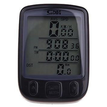 SUNDING impermeable Cuentakilometros Velocimetro Inalambrico para bicicleta Ciclismo LCD Luz de fondo retroiluminado multifuncion Negro: Amazon.es: Deportes ...