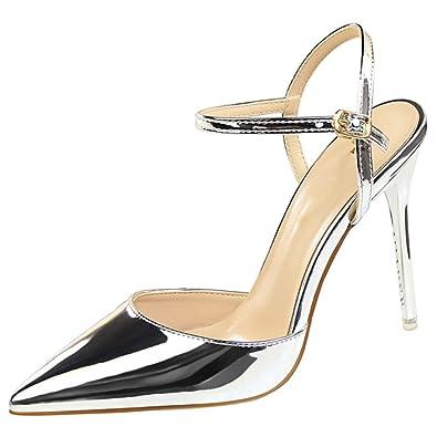 be908c46f wealsex Escarpins Sandales Cuir Vernis Talon Haut Aiguilles Sexy Bout  Pointu Bride Cheville Chaussure Mode Simple Soirée Club Bar Mariage Femme