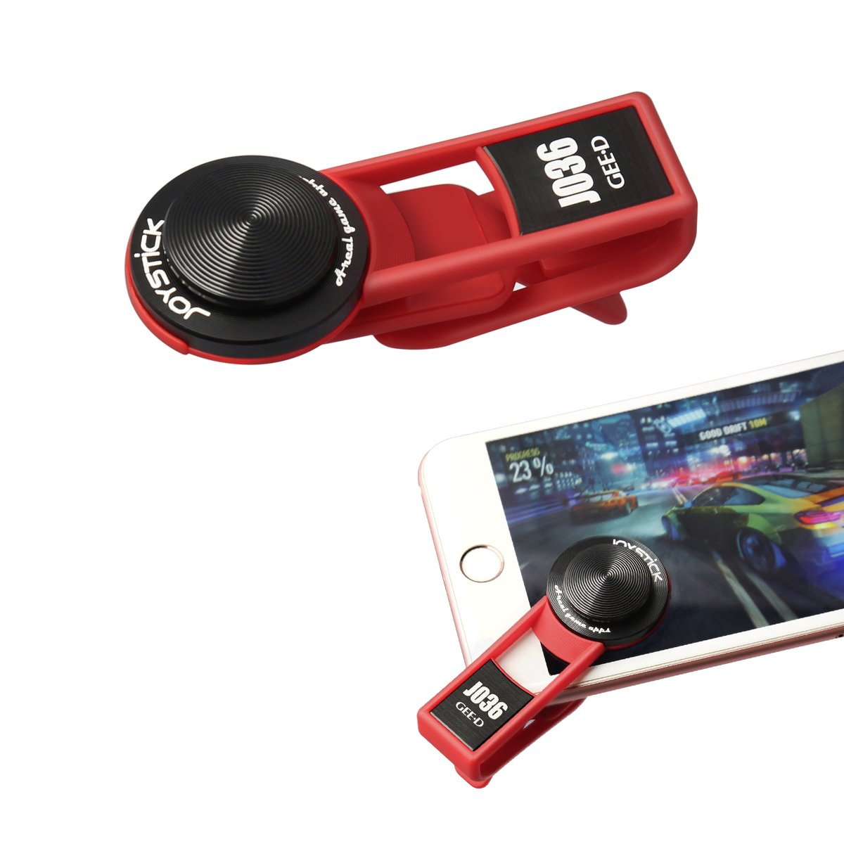 GEED J036 Game Controller PUBG Mobile Phone Joystick Anti-slipping Touch Screen Gamepad for iPhone, iPad, Android phones, Tablet PC,(RED)
