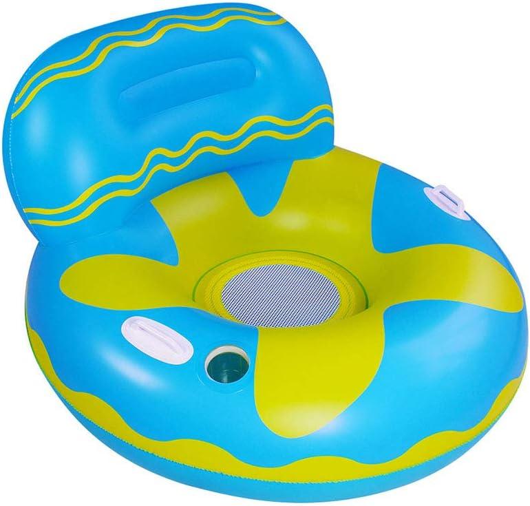 Hamaca Flotante,Anillo de natación para Adultos, balsa Flotante Inflable,Anillo de natación Inflable con Respaldo y Soporte para Bebidas,Playa Fiestas Juguetes inflables para Adultos niños