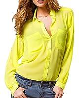 Basic Long Sleeves Sheer Chiffon Blouse with Pockets Shirt Top