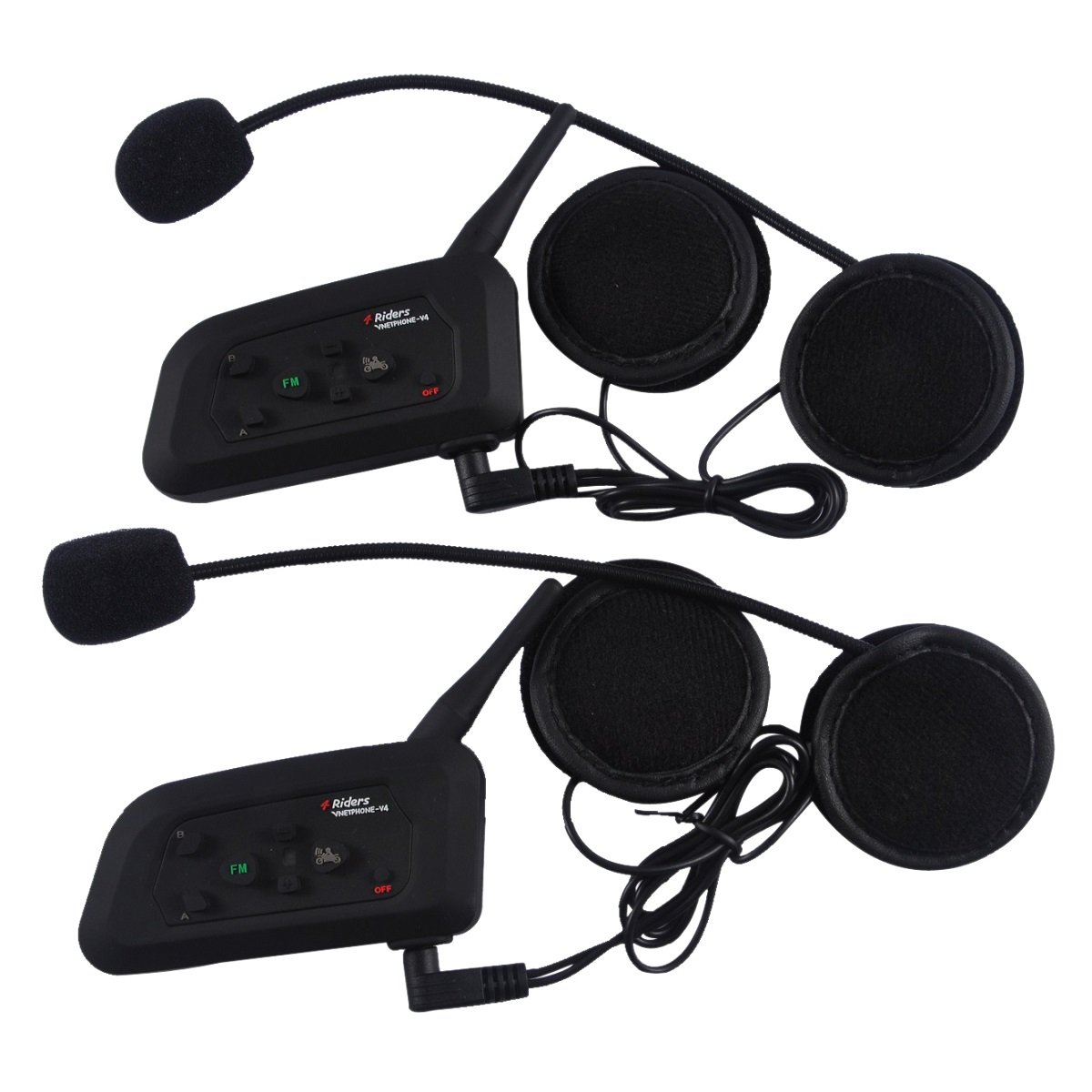2 PCS Vnetphone-V4 BT 3.0 Bluetooth Intercom Motorcycle Helmet Waterproof Interphone Headset 4 Riders 1200M Wireless communication Walkie Talkie Support FM Function