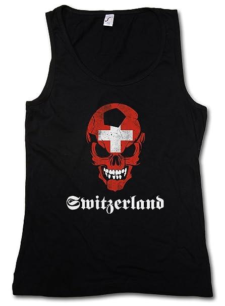 Black Classic Suisse Switzerland Fútbol Football Soccer Skull Flag Mujer Mujer Camiseta SIN Mangas Tank Top