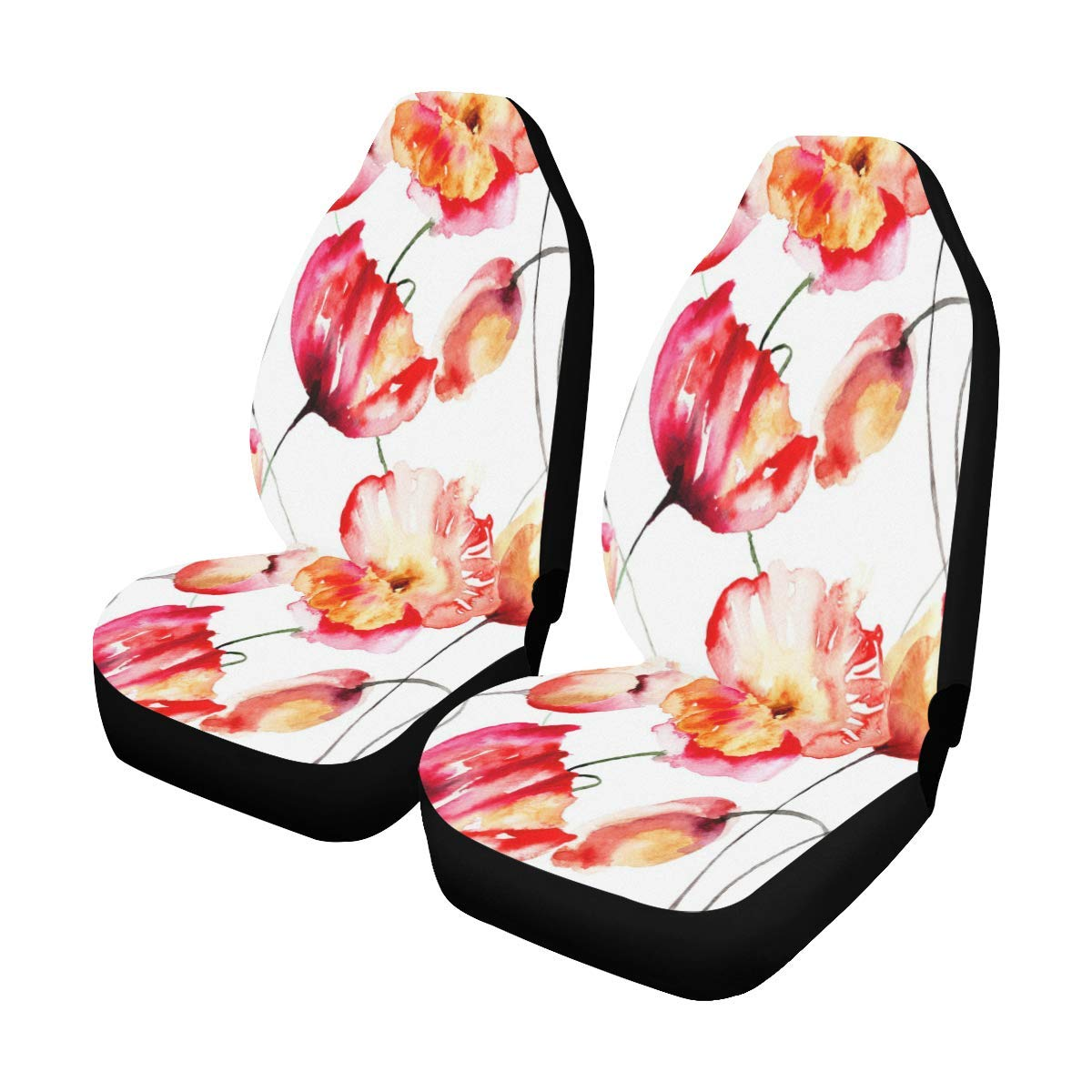 INTERESTPRINT Tulips and Poppy Flowers Car Seat Covers Set of 2 Vehicle Seat Protector Car Covers for Auto Cars Sedan SUV