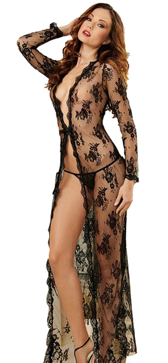 BellaFox Plus Size Gown Long Sexy See Through Lace Dress Coat Lingerie Robe with Thong (2XL)