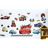 Kibi Adesivo Da Parete Cars Disney Di Arte Auto Adesivi Murali Camera Dei Bambini Soggiorno Camera Da Letto Decorazione Casa Stickers Murali Rimovibili (A)