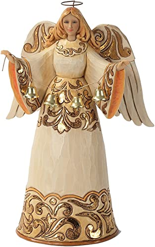 Enesco Jim Shore Heartwood Creek Ivory Gold Angel with Bells Figurine, 9.5-Inch