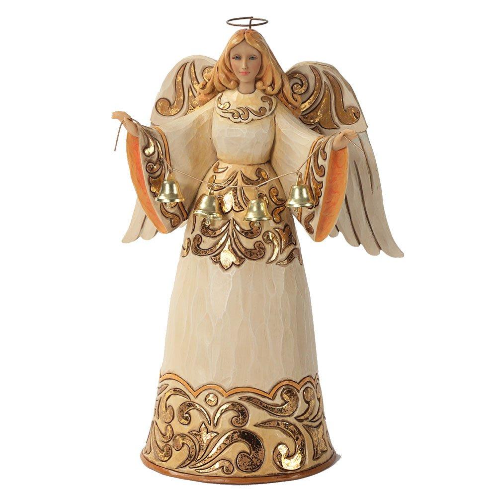 Enesco Jim Shore Heartwood Creek Ivory/Gold Angel with Bells Figurine, 9.5-Inch