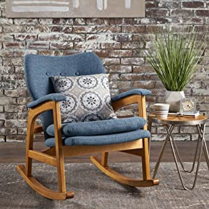 Christopher Knight Home 301989 Bethany Mid Century Fabric Rocking Chair (Muted Blue)