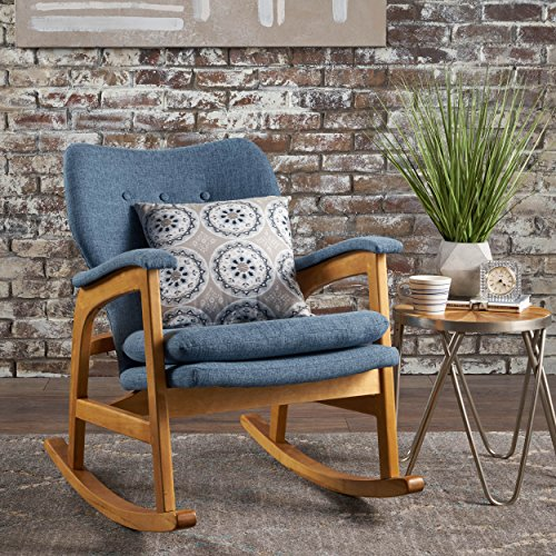 Bethany Mid Century Fabric Rocking Chair (Muted Blue)