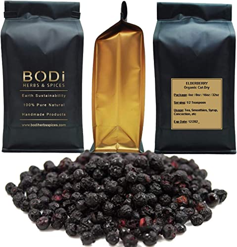 BODi Elderberry Berries Whole Dried 100 Pure Organic 4, 8, 16, 32 oz 4 oz