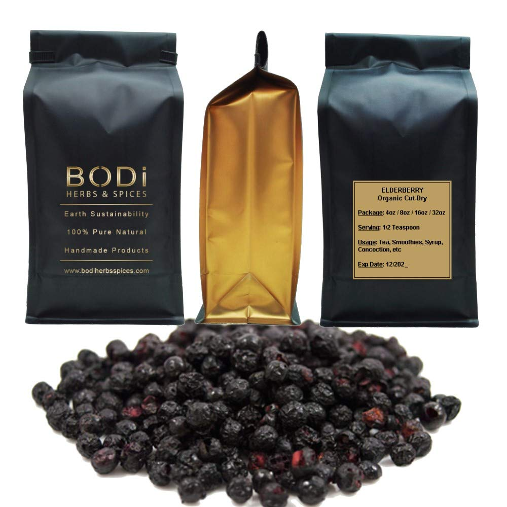 BODi Elderberry Berries Whole Dried 100 Pure Organic 4, 8, 16, 32 oz 16 oz