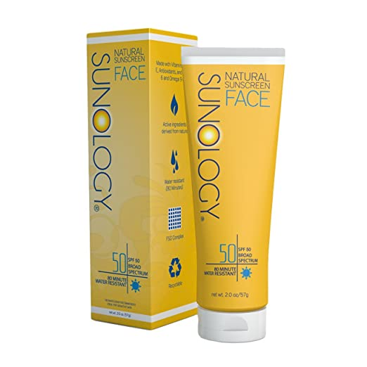 Sunology Natural Sunscreen for Face SPF 50, Broad Spectrum, Zinc Oxide & Titanium Dioxide Active Ingredients, 2 Oz